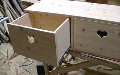 편백나무 서랍장(1단/2칸/하트/무받침 : 가로x세로x높이 = 110x40x33 cm