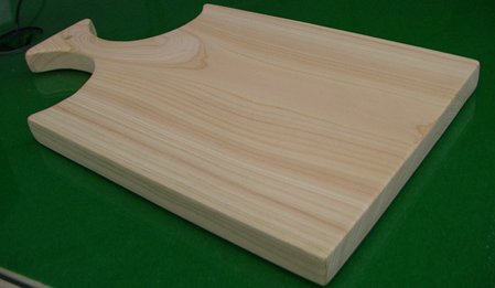 3fish 편백나무 통도마(손잡이/양면도마) : (중) 가로x세로x두께 = 42x24x2.2 cm